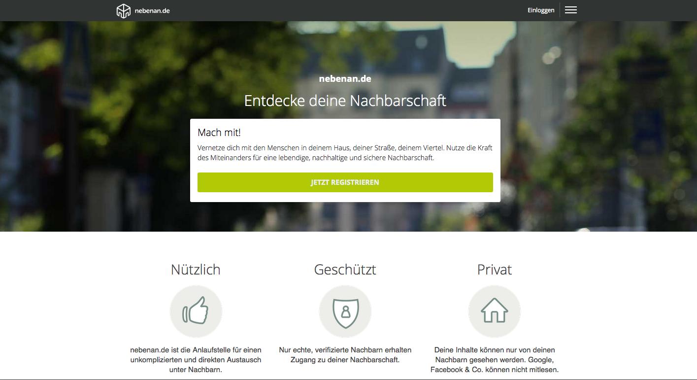 Startseite von nebenan.de