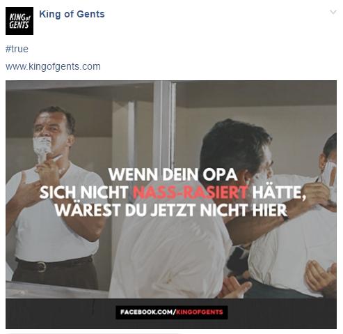 King of Gents Facebook Post mit kantigem Spruch, hilft bei der Reichweitengenerierung