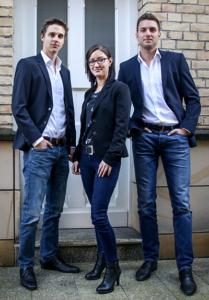 Das Hire Me-Gründerteam: David Poetzsch-Heffter, Jennifer Moseler und Sebastian Hof. (v.l.nr.)
