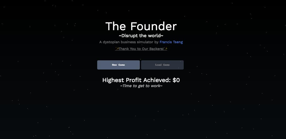 """Startbildschirm von """"The Founder"""""""
