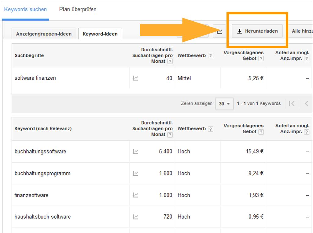 Screenshot des Keyword Planners