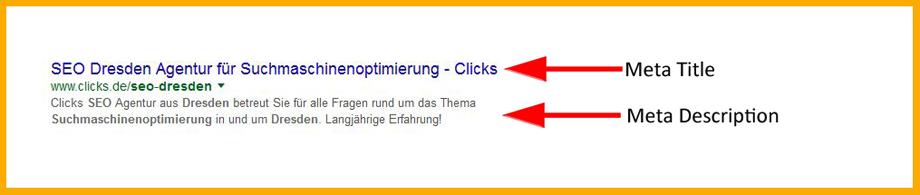 Google Suchergebnis: Meta Title und Meta Description